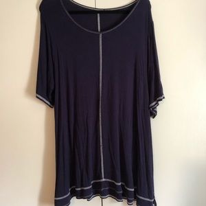 Tops - Navy 2X Short Sleeve Swing Tee
